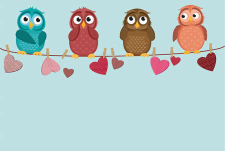 Four cute colored owlet sitting on a string. A red hearts with a picture hanging on a rope. Valentine's Day. Vector illustration. Greeting card with empty space for the label or advertising.