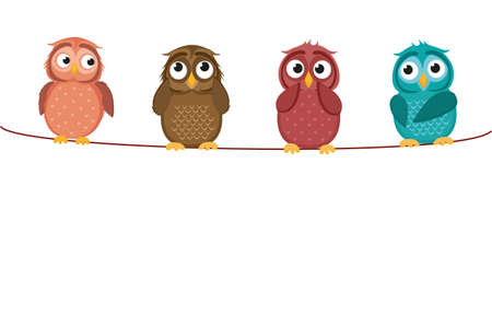 Four cute colored owlet sitting on a rope. A red hearts with a picture hanging on a rope.  Valentines Day. Vector illustration. Greeting card with empty space for the label or advertising.