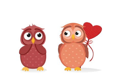 owlet: Owlet Cute boy wants to give heart to the Valentines Day gift to girl owl. She is embarrassed and waiting. Greeting card. Empty space for your text or advertisement. Vector illustration on white background