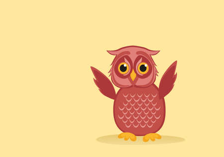 owlet: owlet pink flaps its wings. Greeting card for the holiday. Empty space for text or advertising vaashego. Vector illustration