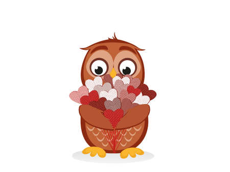 owlet: Cute owlet waiting to give a  of flowers of hearts as a gift for Valentines Day. Greeting card. Empty space for your text or advertisement. Vector illustration on a blue background