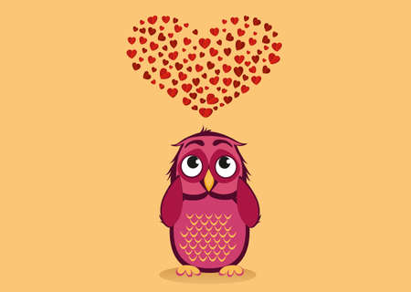 owlet: Cute owlet dreams of love. Owl looks at the heart top. Greeting card for Valentines Day. Empty space for your text or advertisement. Vector illustration.