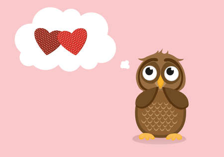 Cute owlet dreams of love. Owl thought. Greeting card for Valentines Day. Empty space for your text or advertisement. Vector illustration. Thinking bubble with hearts inside