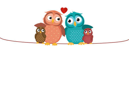 Lovely couple sitting owl on the rope with children owlet. Family of birds on top of a heart. Greeting card for the holiday. Vector illustration.