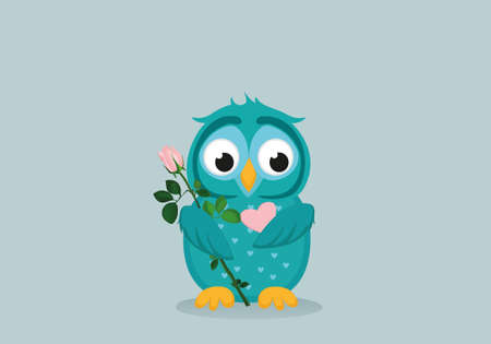 owlet: Cute blue owlet waiting to give a  of flower pink rose and heart as a gift for Valentines Day. Greeting card. Empty space for your text or advertisement. Vector illustration on a grey backgroun Illustration