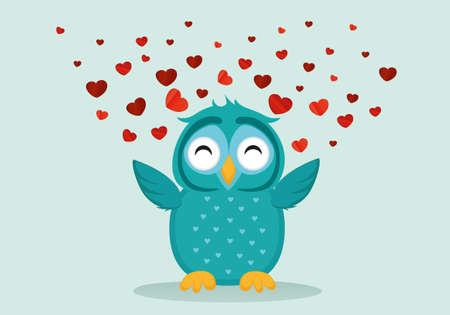 owlet: Cute Blue Owlet happy smiles and spreads wings hearts up. Greeting card for Valentines Day. Empty space for your text or advertisement. Vector illustration on a blue background