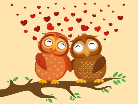 owlet: A pair of cute owlet sitting on a branch. Owls in love hearts around them. Greeting card for Valentines Day. Vector illustration