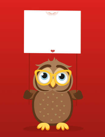 owlet: Cute colored owlet in glasses holding a blank poster Blank for your text or advertisement. Greeting card for the holiday. Vector illustration on a red background