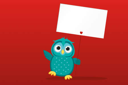 owlet: Cute colored owlet holding a blank poster Blenk for your text or advertisement. Greeting card for the holiday. Vector illustration on a red background Illustration