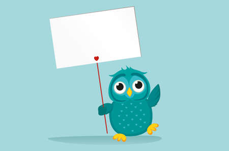 owlet: Cute colored owlet holding a blank poster Blenk for your text or advertisement. Greeting card for the holiday. Vector illustration on a blue background