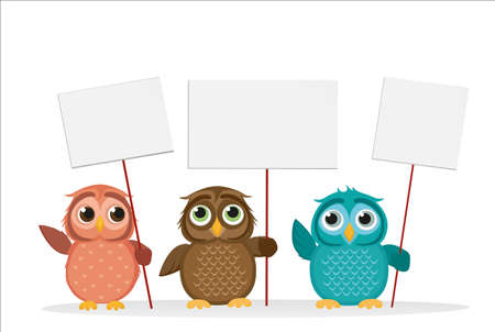 owlet: Lovely multicolored owlet keep empty pages and blank for your text or advertisement. Love Greeting card for the holiday. Vector illustration on a white background. Free place