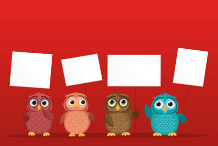 owlet: Lovely multicolored owlet keep empty pages and blank for your text or advertisement. Love Greeting card for the holiday. Vector illustration on a red background. Free place
