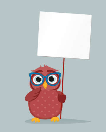 owlet: Cute colored owlet in glasses holding a blank poster Blank for your text or advertisement. Greeting card for the holiday. Vector illustration on a grey background