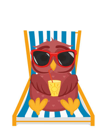 Cute owl in sunglasses on vacation lying and relaxing on a sun lounger. Illustration