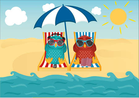 Cute two owls with sunglasses on vacation lying down on the beach Illustration