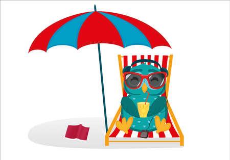 Nette Eulen in Sonnenbrillen im Urlaub liegend und entspannend auf einem Liegestuhl unter einem Regenschirm. Vektorgrafik