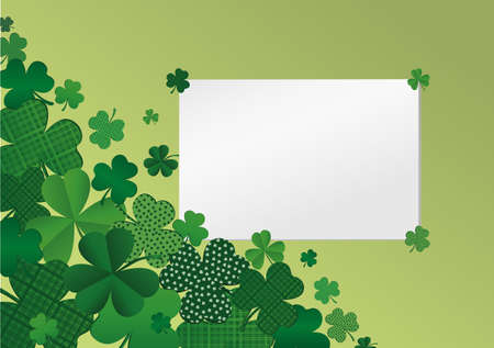 Many breeds of clover on the table. Empty blank sheet for advertising or text. Greeting card for St. Patricks Day celebration. Vector illustration on a  green background