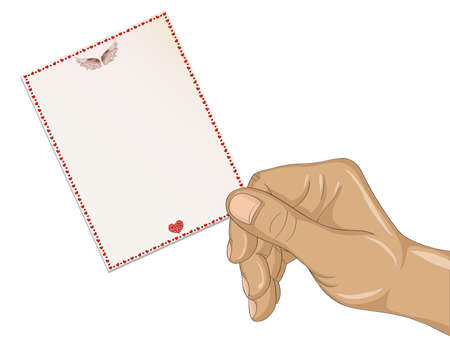 Female hand holding a finger of the empty form for the letter. Greeting card for wedding Valentines Day and birthday. Empty space for your ad or text. Vector illustration