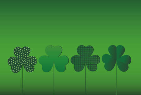 Petals of clover with the image on sticks. pozdavitelnaya card for St. Patricks Day with a blank space for text or advertising. . Vector illustration on a green background Illustration