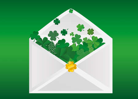 Envelope with green clover inside. St.Patrick 's Day. Vector illustration. Greeting card with empty space for text or advertising.