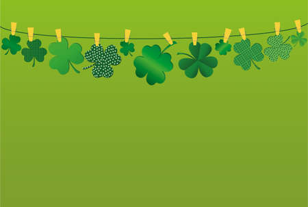 Petals of clover with a picture hanging on a rope with clothespins. St.Patrick s Day. Vector illustration. Greeting card with empty space for text or advertising. On a green background Illustration