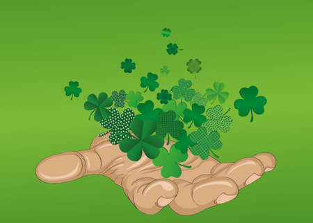 The gesture of the open hand. From the hands of fly sheets clover. Patricks day. Greeting card. Vector illustration. Empty space for text labels and advertising
