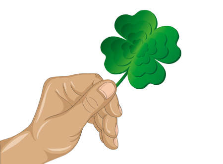 Hand holds ornate clover four-leaf. Celebration concept St. Patricks Day. Greeting card. Vector illustration on a white background. Free space for your text and labels