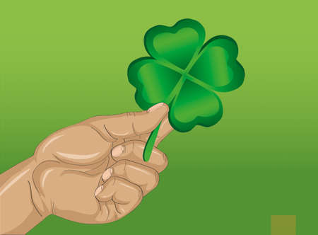 irish woman: Hand holds ornate clover tree-leaf. Celebration concept St. Patricks Day. Greeting card. Vector illustration on a green background. Free space for your text and labels