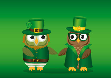 Two owls in national costume at Patricks Day holding hands. Greeting card with owlet. Free space for your ad or text. Vector illustration on green background
