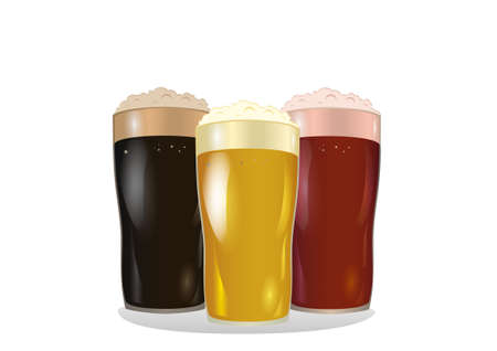 A glass with bright, red and dark beer. Invitation to the St. Patricks Day. Greeting card with owlet. Free space for your ad or text. Vector illustration on white background. Illustration
