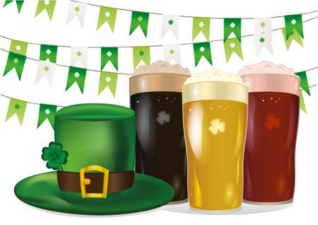 threeleaf: Garland of flags with clover. A glass with bright, red and dark beer. Green hat and three-leaf. Invitation to the St. Patricks Day. Greeting card.  Vector illustration on white background. Illustration