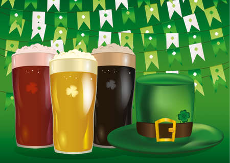 Garland of flags with clover. A glass with bright, red and dark beer. Green hat and three-leaf. Invitation to the St. Patricks Day. Greeting card.  Vector illustration on white background. Illustration