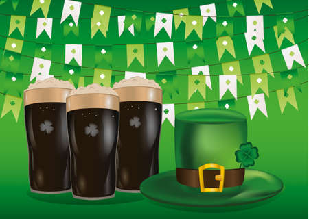 Garland of flags with clover. A glass of dark beer. Green hat and three-leaf. Invitation to the St. Patricks Day. Greeting card.  Vector illustration on green background.