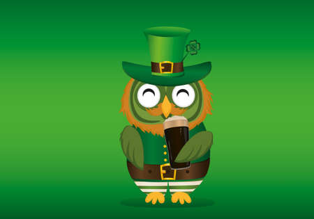 Happy Owl drink dark beer in a glass in national costume at Patricks Day holding hands. Greeting card with owlet. Free space for your ad or text. Vector illustration on green  background. Thought bublles Illustration