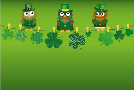 Three owls in the national costume for the day, Patrick sitting on a rope with Petals of clover with the paper blank. Three-leaf on clothespins. Vector illustration. Greeting card with empty space for text or advertising. Illustration