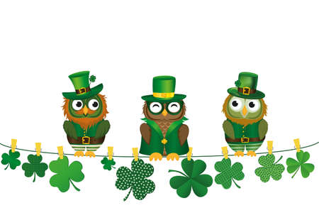 threeleaf: Three owls in the national costume for day Patrick sitting on a rope with Petals of clover with the paper blank. Three-leaf on clothespins. Vector illustration. Greeting card with empty space for text or advertising. Illustration