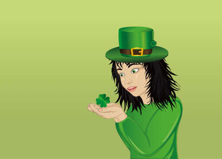 clover face: Wow! Happy girl in a hat and suit clover on St. Patricks Day in his hands. Vector. Portrait of a baby on a white background. Illustration