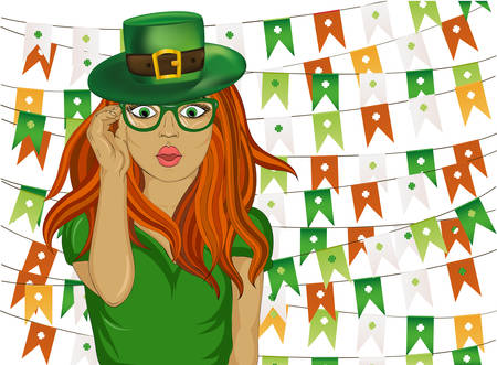 clover face: The girl in national costume and hat on St. Patricks Day on the background of garlands of flags with clover. Pop-art style. Wow. Beautiful sexy woman. Shes in shock. Vector illustration