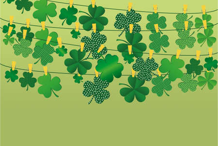 threeleaf: Green festive bunting with clover. Irish holiday - Happy St. Patricks Day with a garland of three-leaf. Greeting card, poster, banner. Vector illustration.