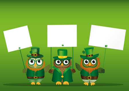 three day beard: Three cute owls with a beard and mustache in a national costume and hat on St. Patricks Day holding an empty posters with clover for your text or advertisement. Greeting card for the holiday. Invitation. Vector illustration on a green background