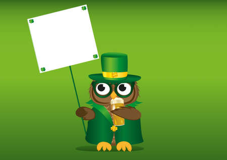 Happy owl with beer in a national costume and hat on St. Patricks Day holding an empty poster with clover for your text or advertisement. Greeting card for the holiday. Invitation. Vector illustration on a green background Illustration
