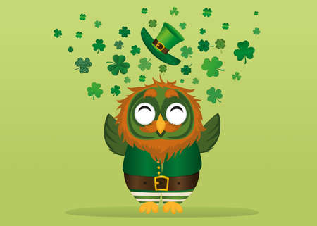 leafed: A happy owl with a beard in a suit and hat on St. Patricks day smiles and throws a lot of clover of the three-leafed wings. Greeting card or invitation. Vector illustration. Empty space for text labels and advertising Illustration