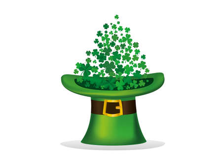 threeleaf: Clover inside the hat. The three-leaf leaves the cylinder. St.Patrick s Day. Free space for your text or advertising. Greeting card or invitation.