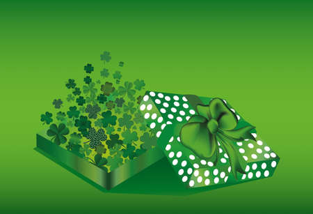 threeleaf: Open the gift box with the flying out clover three-leaf inside. St.Patrick s Day. Greeting card. Vector illustration. Empty space for text labels and advertising