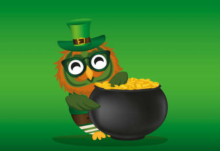 A happy owl with a pot of gold coins in a national costume and glasses for St. Patricks Day. The wing climbed into the cauldron. Greeting card for the holiday with a blank space for text or advertising. Illustration