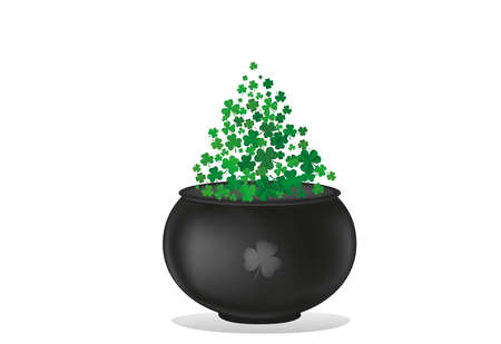 Clover inside the pot. A trefoil leaf flying comes out of the kettle. St.Patrick s Day. Free space for your text or advertising. Greeting card or invitation. Vector illustration.