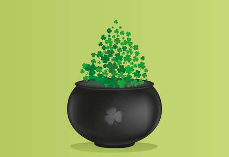 threeleaf: Clover inside the pot. A trefoil leaf flying comes out of the kettle. St.Patrick s Day. Free space for your text or advertising. Greeting card or invitation. Vector illustration.