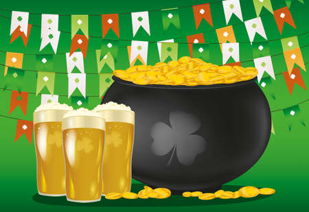 Pot of gold coins against the background of green flags. Glasses with a light beer for St. Patricks Day. Invitation or greeting card for the holiday. Free space for text or advertising. Vector.