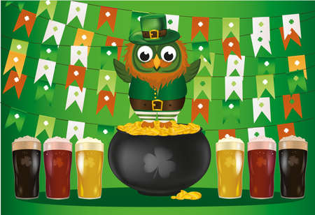 ireland flag: An owl in a national costume for a patricians day stands on a pot of gold with a garland of flags. Celebration of beer. Greeting card for the holiday with copy  space for text or advertising. Invitation. Vector
