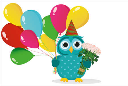 sultry: A happy owl with sultry balloons and a bouquet of flower design template. Illustration